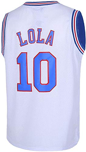 Space Jam Tune-Squad Basketball Jersey Lola#10 Bugs Bunny#1 White Stitched S 3XL (Medium, LoLa#10 White)