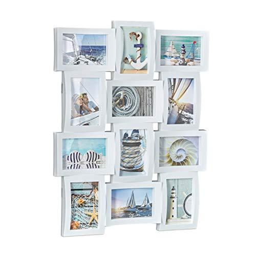 Relaxdays Bilderrahmen für 12 Fotos, Galerierahmen für Collagen, Mehrfachbilderrahmen, HBT: 60,5 x 47,5 x 3,5 cm, weiß