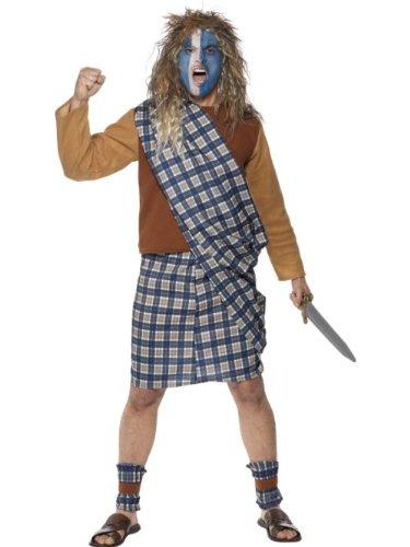 Smiffys Men Brave Scotsman Costume,Blue,L - US Size 42