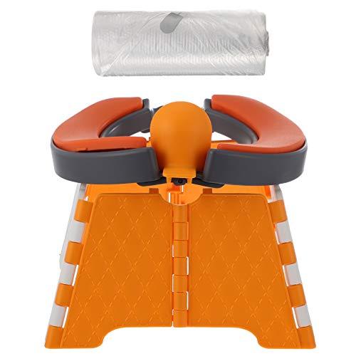 Kisangel 1 Juego de Orinal Portátil Naranja Asiento de Entrenamiento para Niños Pequeños Asiento de Inodoro Plegable para Bebés ASIENTO DE Orinal para Interiores Al Aire Libre