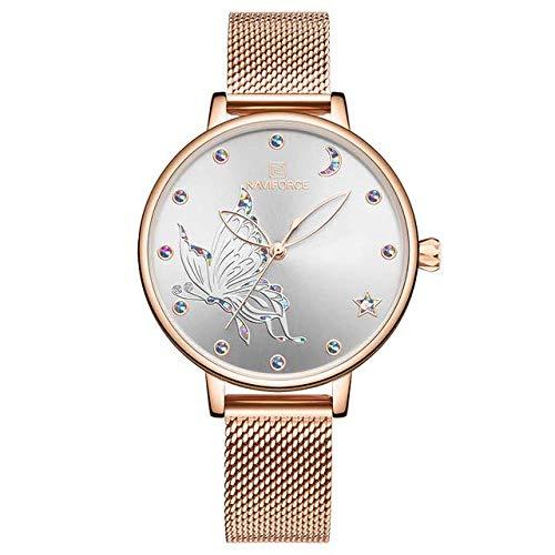 Alcentis-Naviforce - Reloj de mujer de alta gama, pulsera milanesa de oro rosa, esfera de oro rosa y cristal con fondo dorado y plata, decoración de mariposas