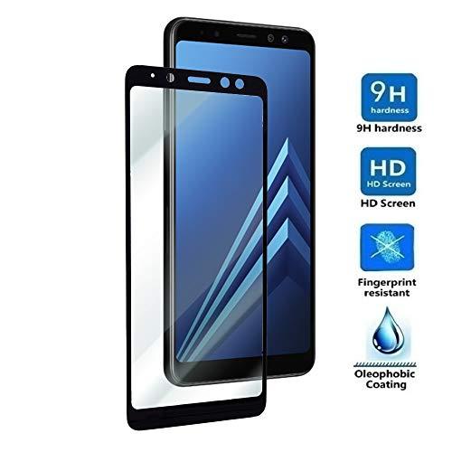 Electrónica Rey Protector de Pantalla Curvo para Samsung Galaxy A8 2018 - A5 2018, Negro, Cristal Vidrio Templado Premium, 3D / 4D / 5D