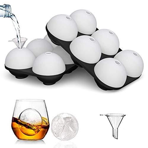 HONYAO Bandejas para Hielo Silicona con Tapa, 2 juegos 6 Moldes de Bola de Hielo Grandes sin BPA, Redondo Bola de Hielo perfectos para Congelador, Whisky, Cóctel, Comida para Bebés y Vino