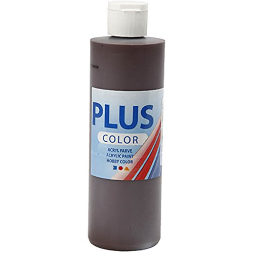 Plus Kleur Acryl Verf, Ambachtelijke Verf - Chocolade Bruin - 1 Fles van 250 ml