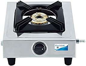 Flamingold ISI Standard Stainless Steel Burner Gas Stove with Single Designer Cooktop, Bakelite Knobs, Brass Valve and Manual Ignition (Silver)