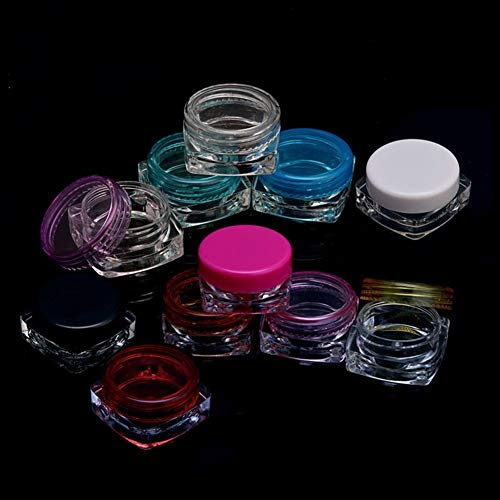No logo 10 Pcs Transparent Petite Place Bouteille Vide Pot cosmétique 5 g Pot Baume à lèvres Fard à paupières Crème for Le Visage Sample Container (Couleur : Rose)