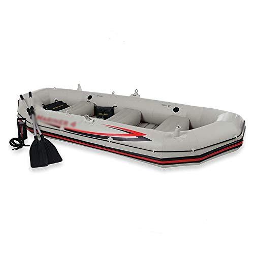 BZLLW Kayak Inflable, roja de la Pesca en Barco, Mejor Pesca Viaje de navegación, 4-Persona Kayak Inflable Asalto del Barco fijada con remos de Aluminio, por Pescador y Recreativo