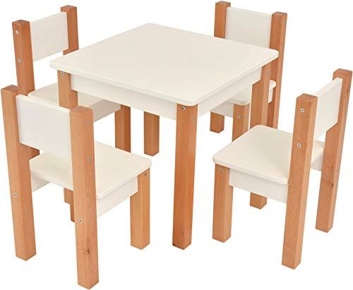 XXL Discount Table pour Enfants avec 4 chaises en Bois - sièges pour Enfants - en hêtre et Bois MDF Blanc