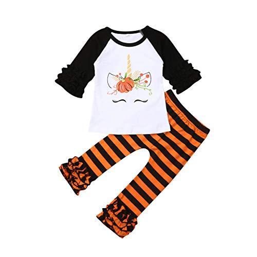 Greetuny baby-meisjes-jongens-pompoen-bovendeel met lange mouwen + gestreepte broek Halloween kledingset (oranje, 9)