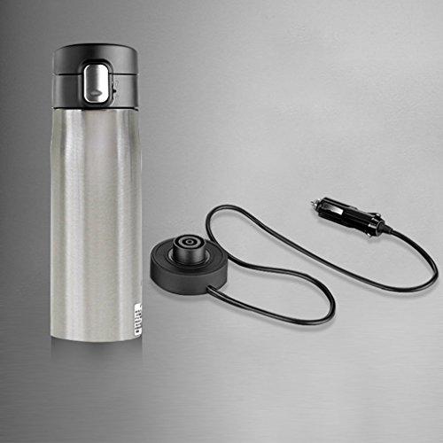 Bouilloire automatique de bouilloire électrique de voiture, tasse futée de voyage, tasses de chauffage de voiture de 12V / 24V, thermos de revêtement d'acier inoxydable de la capacité 350ML, contrôle intelligent de la température ( Color : Steel cup color )