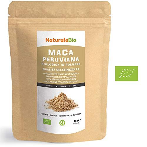 Maca Peruviana Biologica in Polvere [ Gelatinizzata ] 1 kg. 100{8c93f254dd2d7e00221ddc38cc42b4a6713c75a03a03fcf58ef865b73a33236a} Naturale e Pura, Prodotto in Perù dalla Radice di Maca Bio. NaturaleBio