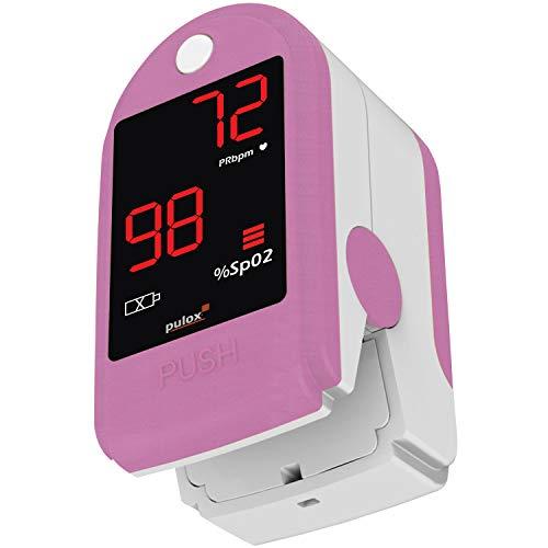 Pulox PO-100 Pulsoximeter mit LED-Anzeige, pink, inkl. Hardcase, Schutzhülle, Nylontasche und Trageband