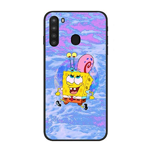 Black Shockproof Thin Protective Soft Liquid TPU Case Cover for Samsung Galaxy A21-SquarePants-Cartoon Sponge-Bob 7
