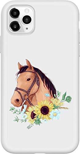 Simar Products Apple iPhone 11Pro Max Custodia in Silicone Bianco Cavallo con Fiori