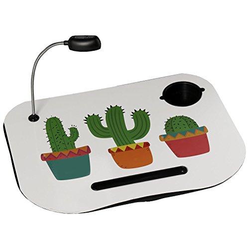 DRW Bandeja Ordenador Acolchada con lámpara led Cactus