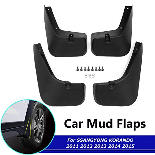 BTSDLXX 4 Pcs Set Car Mud Flaps for SsangYong Korando Actyon C200 2011-2015 Front Rear Rubber Mudguard Flares Splash Guards Fender Mudflaps Auto Accessories