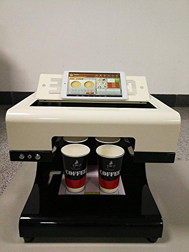 Mokka Coffee, 3D-printer, 2018, upgrade 4 kopjes, latte cake selfie, kunstprinter, volledige inkt, eetbaar automatisch, print.