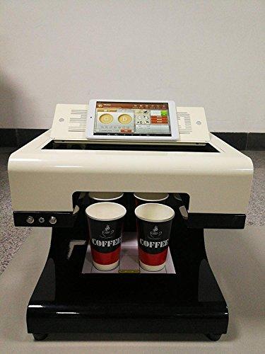 Stampante per caffè 3D Mokka, 2018 Aggiornamento 4 tazze Stampo automatico per stampanti a torta Selfie Full Printe (bianca)