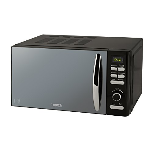 Tower T24019 Infinity Digital Solo Microwave with 6 Power Levels, 8 Auto Cook Options, 60 Minute Timer, Defrost Function, Stylish Mirrored Door, Aluminium, 800 W, 20 liters, Black