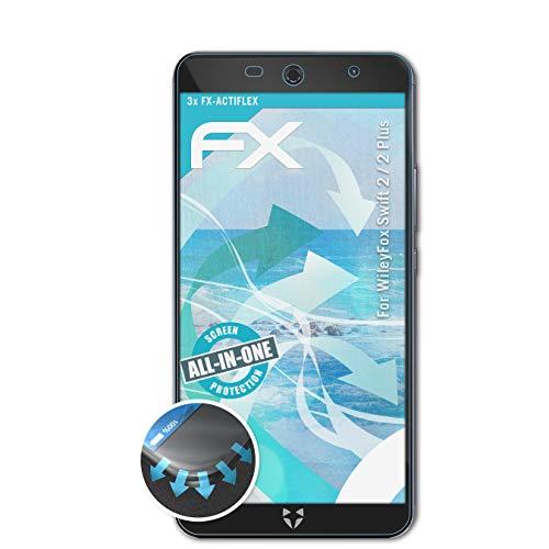 atFolix Schutzfolie kompatibel mit WileyFox Swift 2/2 Plus Folie, ultraklare & Flexible FX Bildschirmschutzfolie (3X)