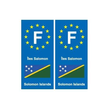 F Europe Inseln Salomon Solomon Islands 2 Aufkleber für Schild, Ecken: rechts