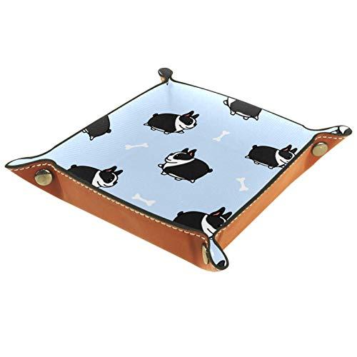 Bandeja de valet, organizador de escritorio, caja de almacenamiento, cuero, gordo, Boston Terrier,...