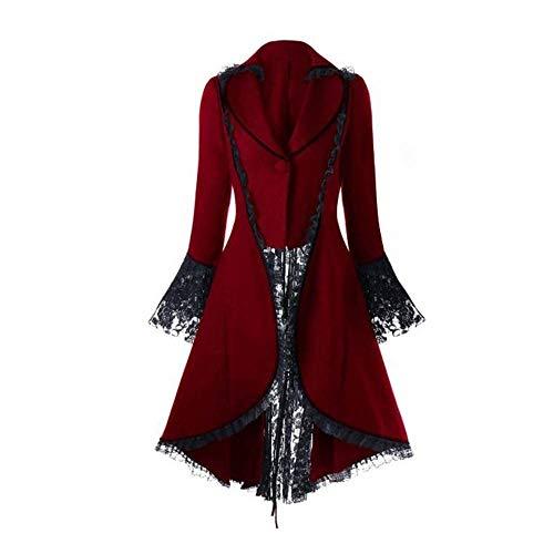 iHENGH Damen Herbst Winter Bequem Mantel Lässig Mode Jacke Frauen Vintage langärmelige Taille Rücken Bandage Lace Stitching Jacke Overcoat(Rot, XL)