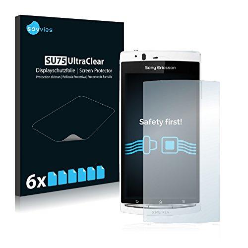Savvies 6X Schutzfolie kompatibel mit Sony Ericsson Xperia Arc LT15i Displayschutz-Folie Ultra-transparent