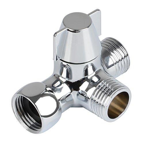 QLOUNI 3-Wege-Umschaltventil Ventil Umschalter für die Dusche, massives Messing, Gewinde (0,5 Zoll / 12,7 mm), Chrom poliert (PV8)
