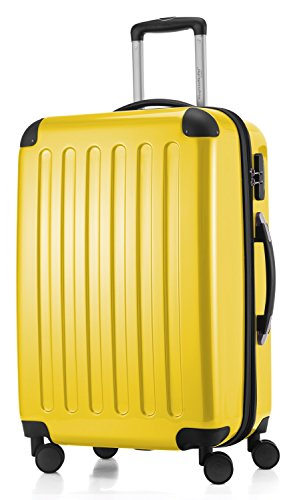 HAUPTSTADTKOFFER - Alex- Luggage Suitcase Hardside Spinner Trolley 4 Wheel Expandable, 65cm, yellow