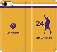 【全機種対応】 バスケ iPhone Xperia Galaxy 楽天Mobile UQ Yモバ Android シルエット スマホケース 手帳型 カバー(ホーム/ロサンゼルス:24番_B) 15 iPhone11 pro Max