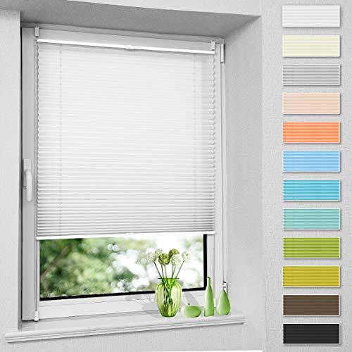 Plissee ohne Bohren, Klemmfix Jalousie Plisee Rollos (Weiß, B105cm x H120cm) Faltrollo Plisseerollo Blickdicht Sichtschutz und Sonnenschutz für Fenster & Tür