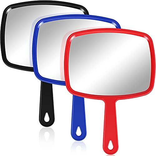3 Espejos de Mano Espejo Cosmético de Mano con Mango, Espejo de Maquillaje Espejo de Paleta de Peluquería Espejo de Tocador Portátil para Viaje (10,83 x 7,48 Pulgadas, Rojo, Negro, Azul)