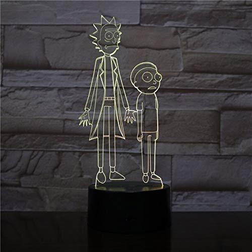 Lámpara de mesa 3D tridimensional colorida Lámpara decorativa para niños LED Lámpara de mesa 3D para habitación de color para niños frescos   Ilusión navideña 7 tipos de cambios de color.