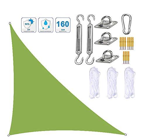 Toldo para velas de jardín parasol triangular con kit de fijación 3 cuerdas resistente al agua bloque UV toldos para sombrillas de jardín en ángulo recto toldos para patios exteriores