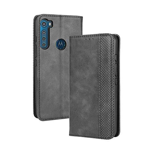 LAGUI Kompatible für Motorola One Fusion Plus Hülle, Leder Flip Hülle Schutzhülle für Handy mit Kartenfach Stand & Magnet Funktion als Brieftasche, schwarz