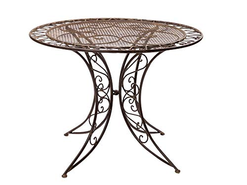 aubaho Nostalgie Tisch Gartentisch Bistrotisch Eisen 13kg Antik-Stil 100cm braun