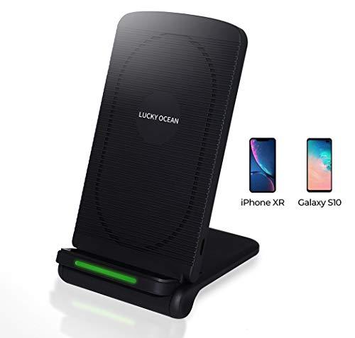 Schnelle WLAN Ladegerät, LUCKY OLEAN Induktion Charging Stand,Vertikale und horizontale Verwendung , faltbar, Qi 10W schnellladefähige, für iPhone Xs/X/iPhone 8, für Galaxy S9/S8/Note 8