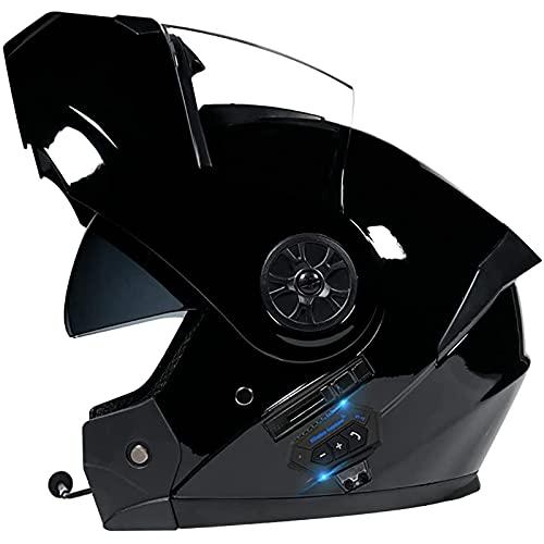 Cascos Modulare Integral Doble Lente y Auricular Bluetooth Casco Seguridad Unisex,Que Se Puede Abrir y Cerrar Ventilación,Para Automóvil Eléctrico,Certificado ECE/DOT E,S=55~56CM