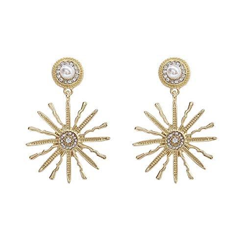 Orecchini pendenti con strass di perle esagerate a forma di fiore del sole Orecchini pendenti con petali rotondi di moda coreana per le donne Regalo di gioielli dell'orecchio della ragazza 2 pezzi