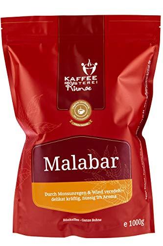Kaffeerösterei Kirmse I Kaffee Malabar I 1000g I Monsooned Malabar aus Indien I Kaffee ganze Bohnen I Handverlesen I Fair gehandelt I Schonend geröstet I Wenig Säure I Kaffeebohnen Vollautomat