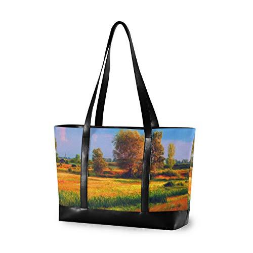XiangHeFu Computer Handtasche große Kapazität lässige Einkaufstasche Mode Picknick Landschaft kultivierte Bäume auf sonnig