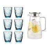 VByge Vasos Cristal Agua Family Set Hogar Vasos Cocktail Creativo Resistente Al Calor Vasos Chupito Cristal 380ml Azul + hervidor