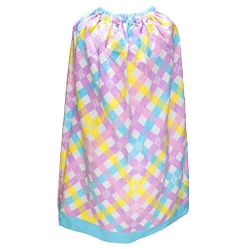 女の子 巻きタオル ラップタオル 丈80cm チェック a0199