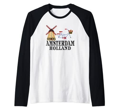 Mulino a vento di Amsterdam Paesi Bassi Maglia con Maniche Raglan
