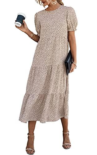 PRETTYGARDEN Women's Summer Casual Boho Dress Floral Print Ruffle Puff Sleeve High Waist Midi Beach Dresses (Apricot, Large)