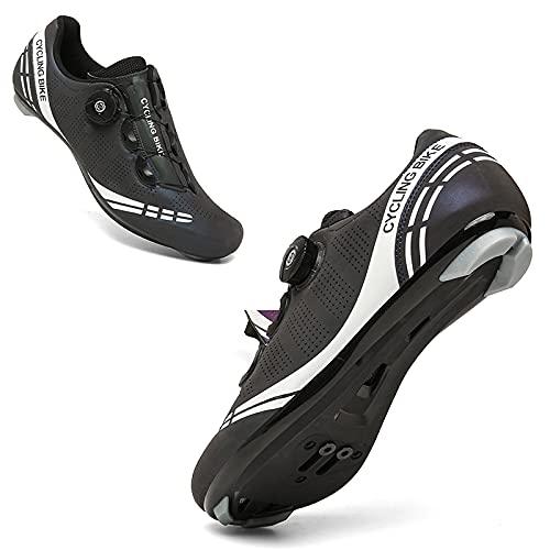 CHUIKUAJ Scarpe da Ciclismo Scarpe da Uomo Spin Shoestring con Tacchetta Compatibile Scarpe Peloton con Scarpe da Bici con Pedale SPD e Delta Lock,PhantomBlueRoadLockShoes-43EU