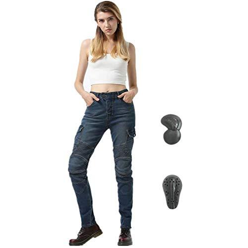 TIUTIU Motorrad-Jeans Für Damen, Army Green Freizeithose, Bruchsichere Rennhose Mit 4 Abnehmbaren Schutzpolstern (Blue,S)