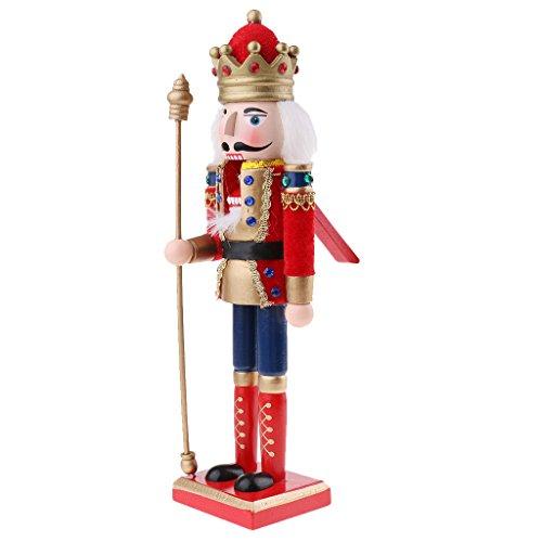 Sharplace 30cm Estatuilla de Figura de Soldado Cascanueces Muñeco de Madera Decoración de Hogar - G