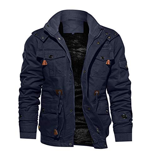 TACVASEN Men's Casual Winter Cotton Military Jacket Thicken Hooded Cargo Coat Navy, US 2XL
